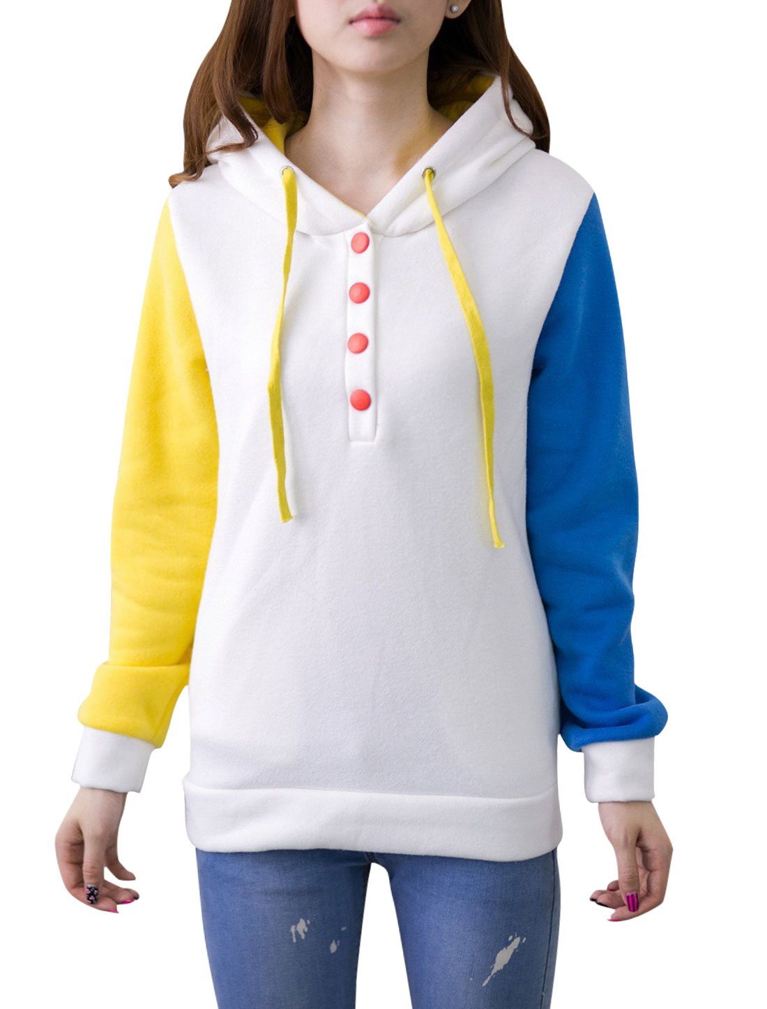Women Contrast Color Long Sleeves Half Button Closure Sweatshirt White Yellow S