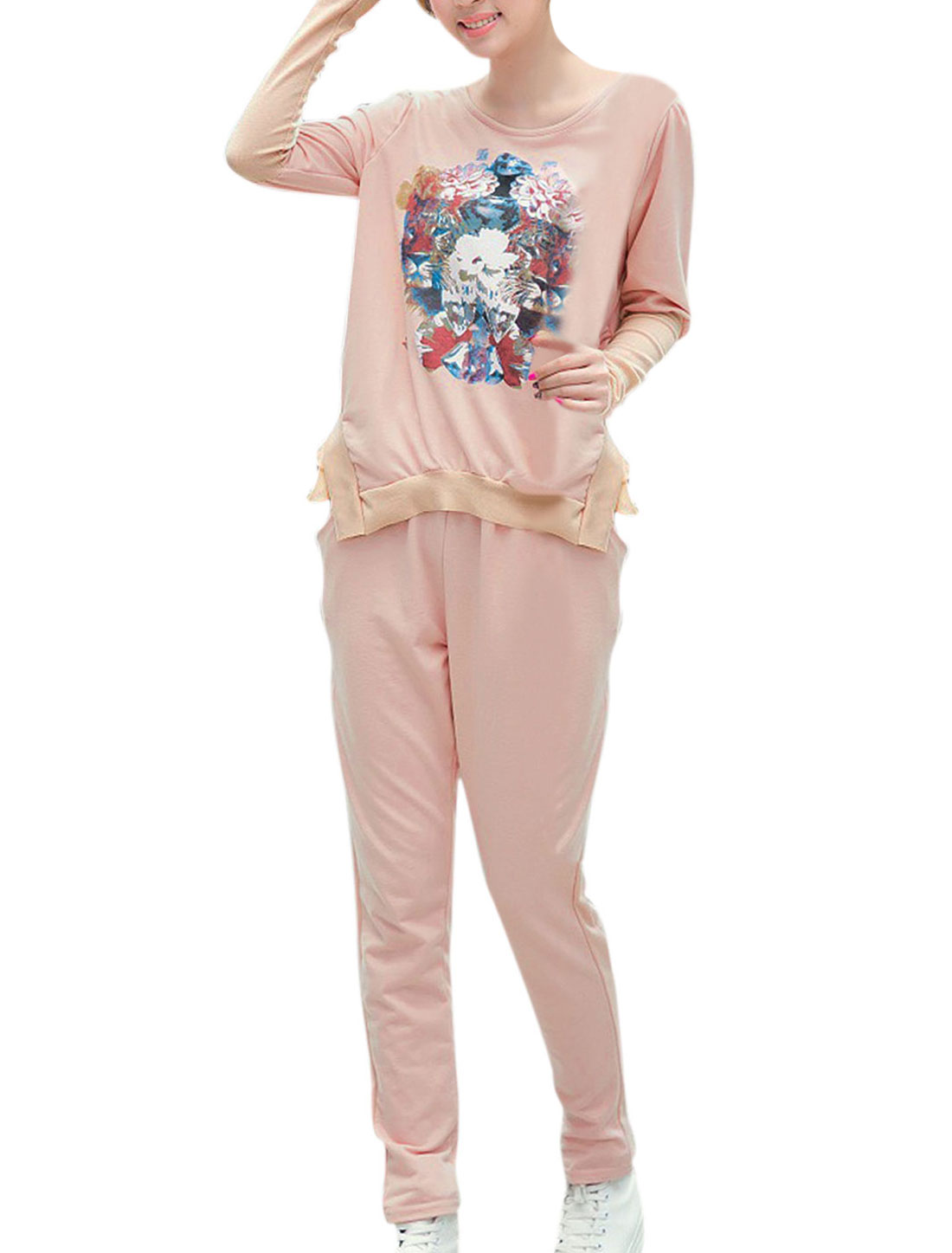Women Long Sleeve Tiger Pattern Top w Elastic Wasit Leisure Pants Sets Pink S