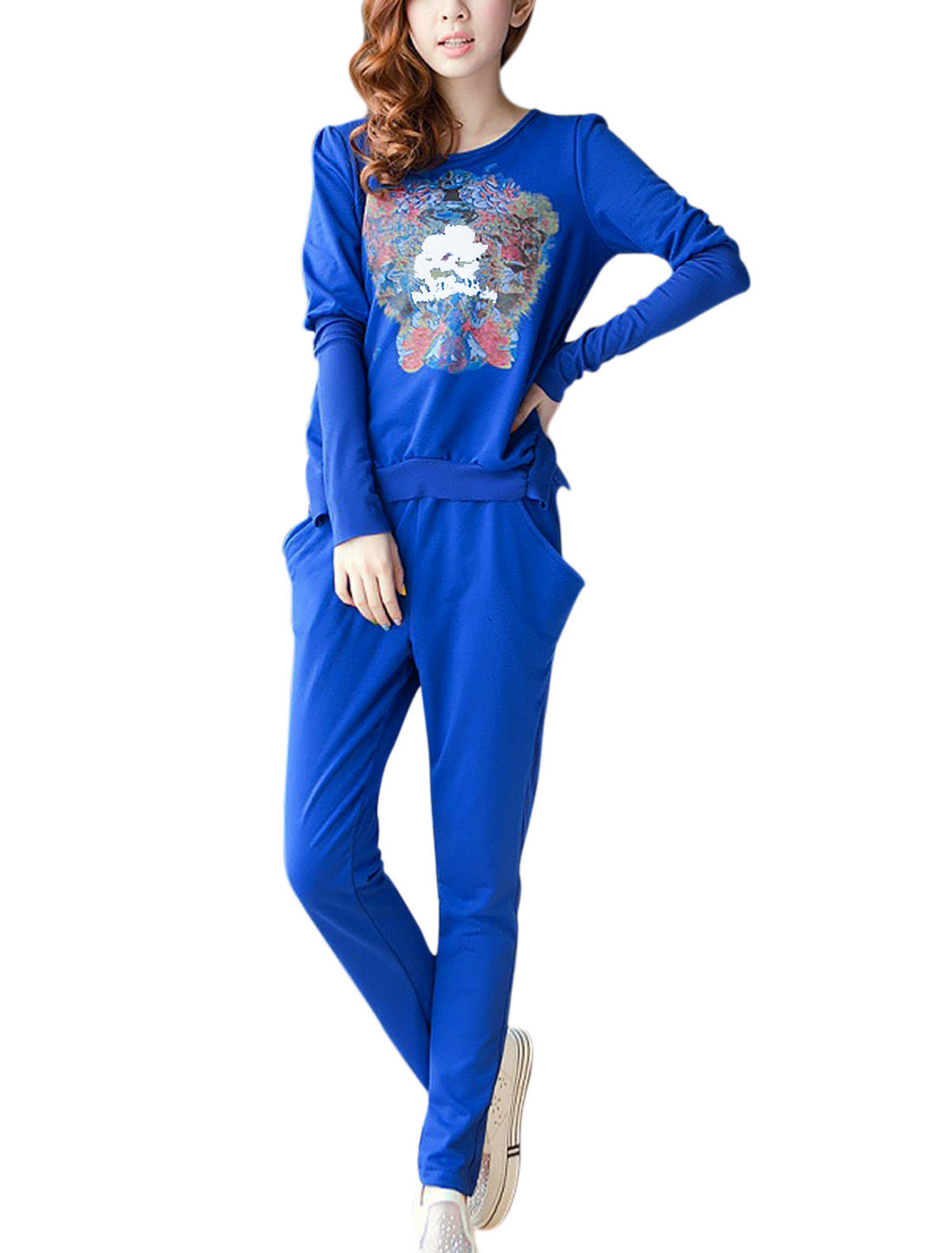 Lady Chiffon Spliced Ruffled Hem Top w Slant Pocekts Stylish Pants Sets Blue S