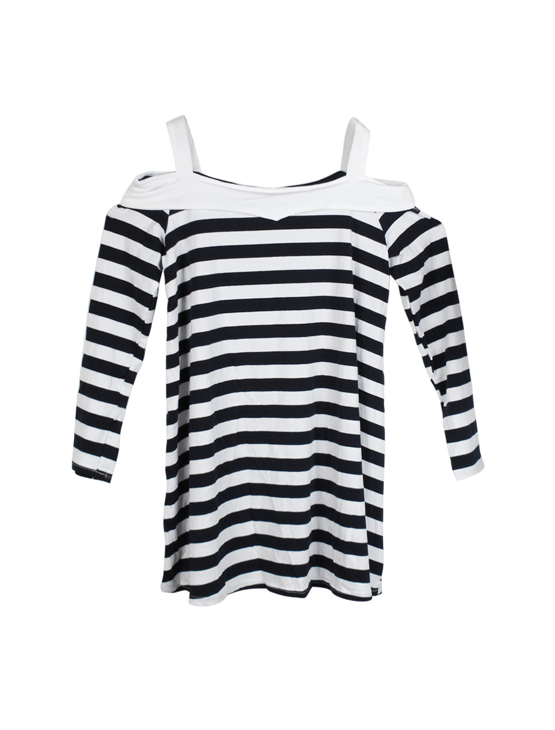 Women Off the Shoulder Strapes Long Sleeves Stripes Slipover Dress Black White M