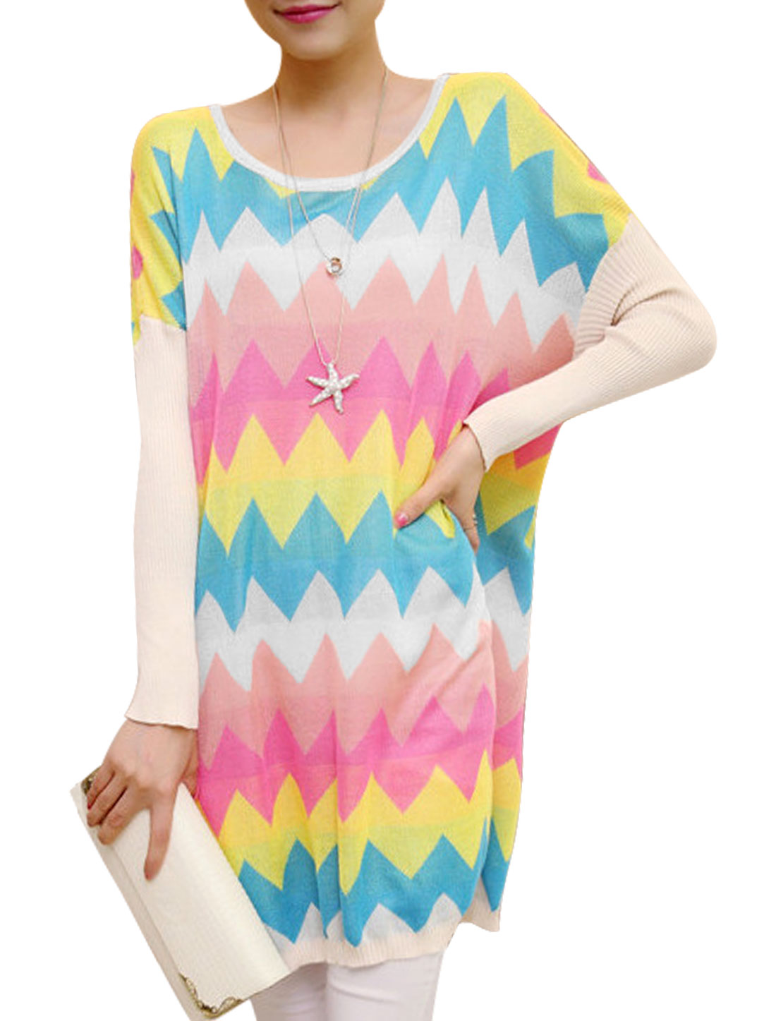 Ladies Multicolor Zigzag Pattern Color Block Pullover Tunic Knit Shirt XS