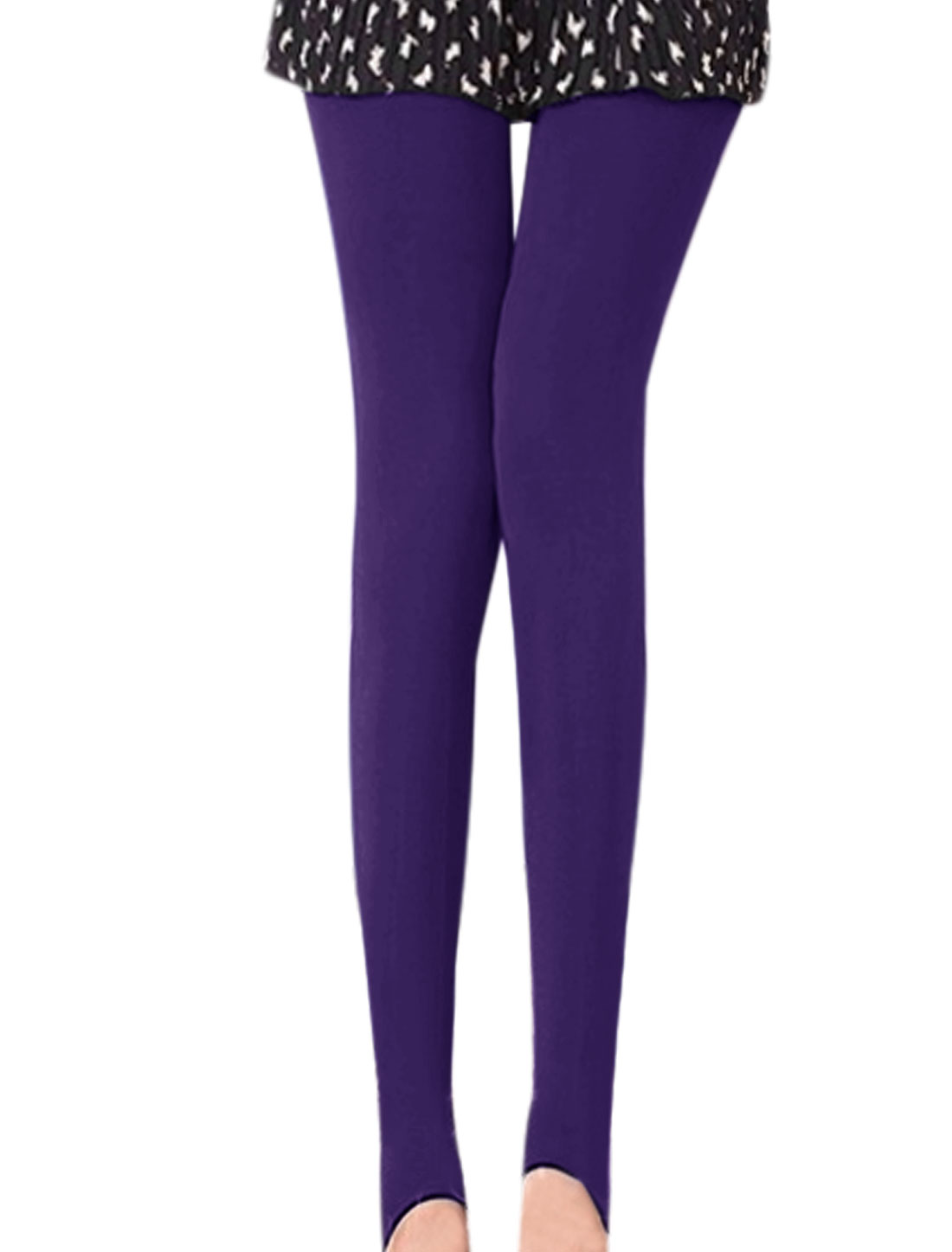 Women Stirrup Design Slim Fit Reversible Pantyhose Purple XS