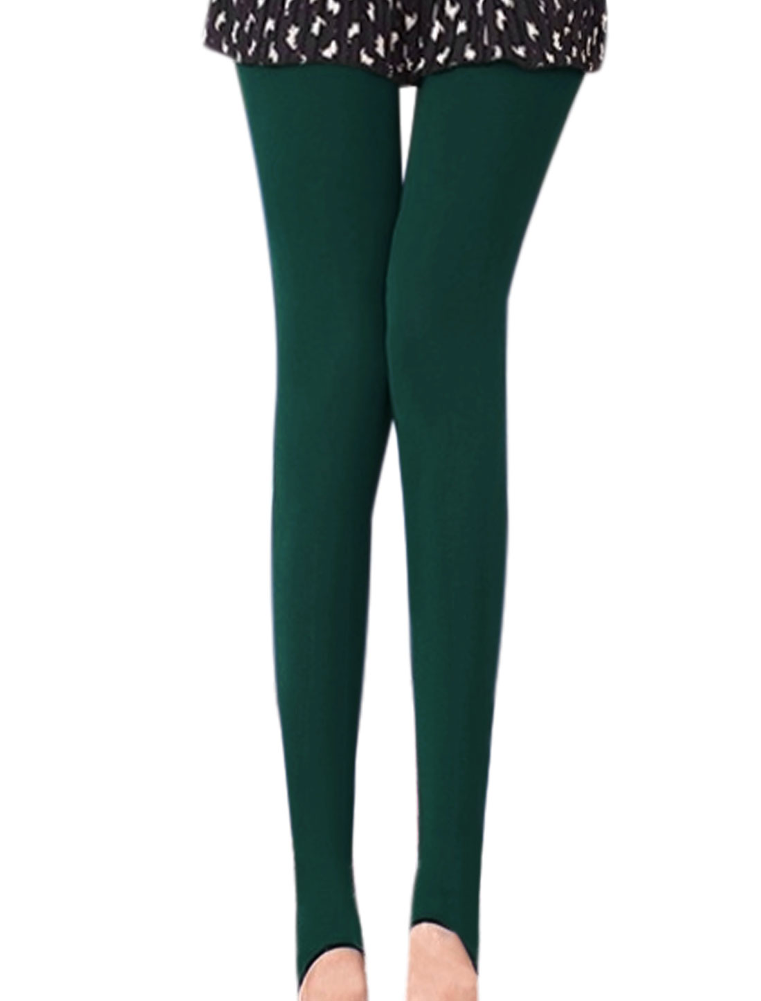 Autumn Wear Stirrup Design Dusty Green Reversible Pantyhose for Ladies XS