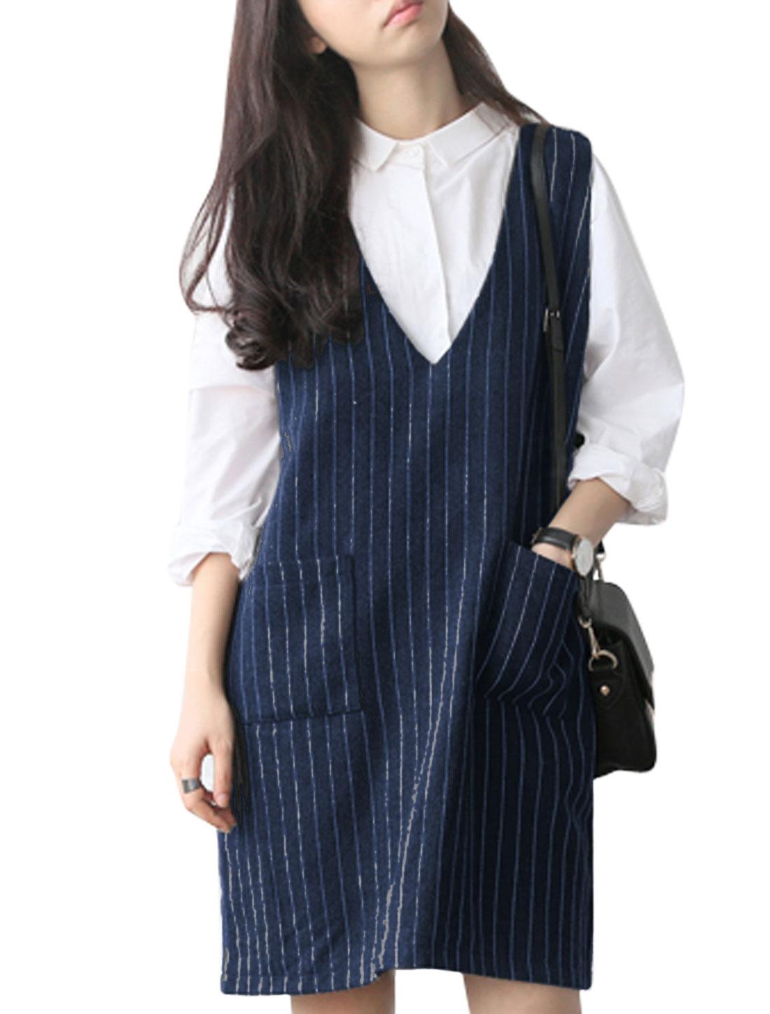 Ladies Navy Blue Stripes Deep V Neck Zipper Back Straight Dress XS