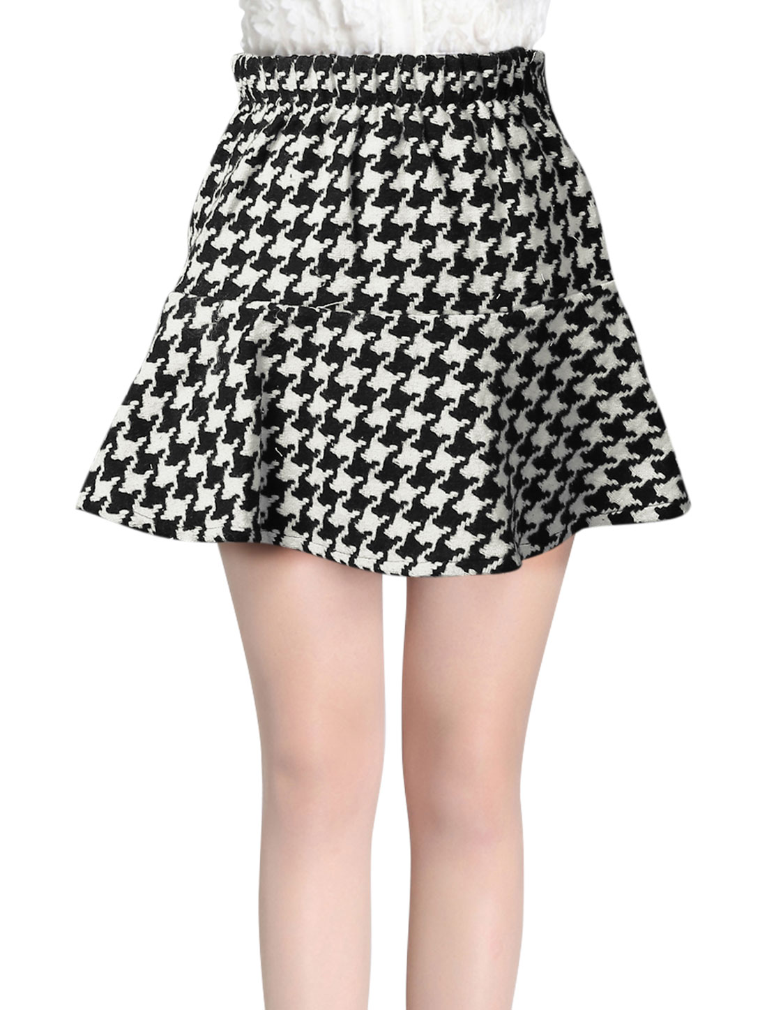 Women Houndstooth Pattern Elastic Back Wasit Casual Worsted Skirt Black White XS
