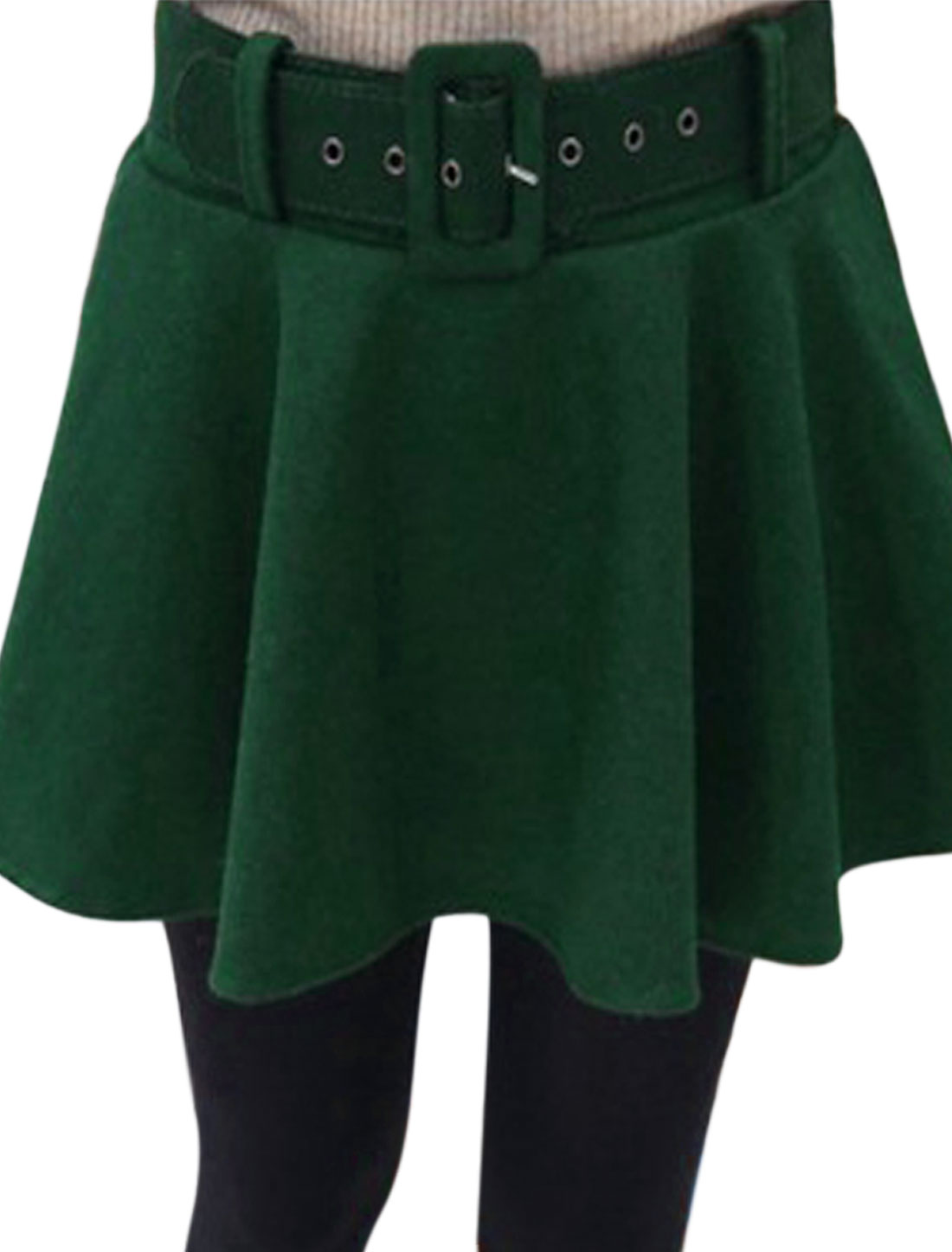 Women Elastic Waist Full Lined Worsted Skirt w Belt Dusty Green S