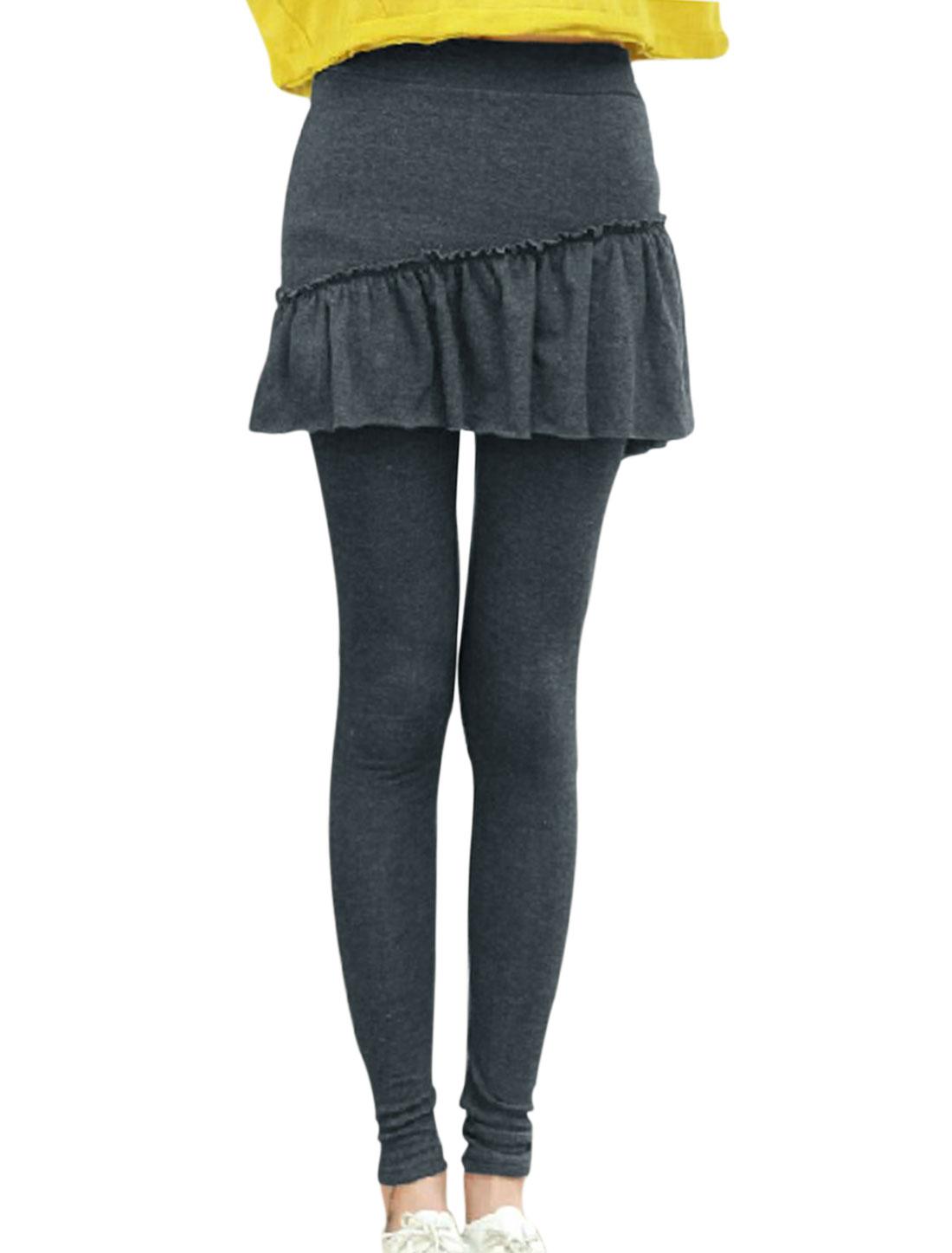 Ladies Ruffled Detail Form-fitting Dark Gray Skirt Leggings XS