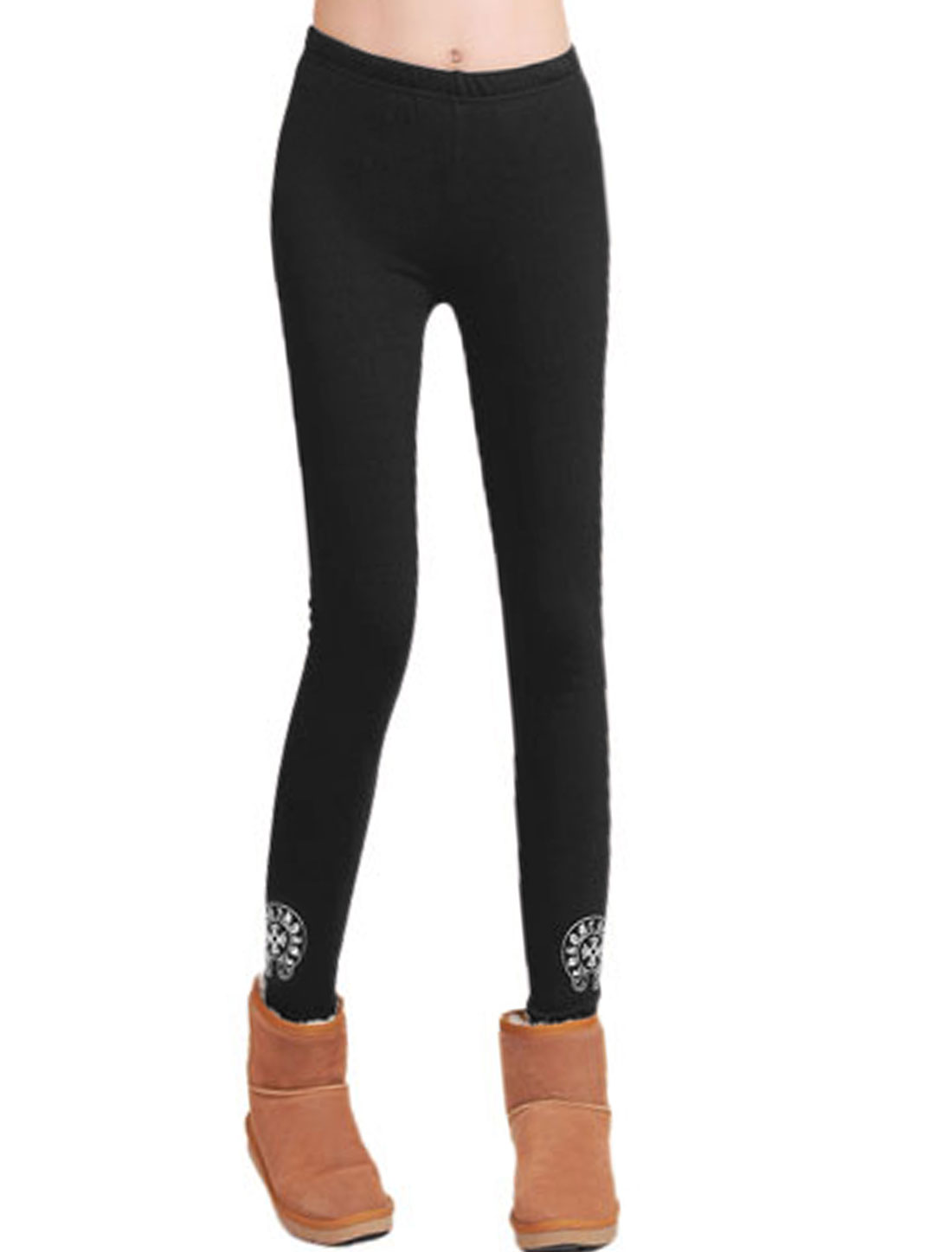Ladies Black Elastic Stretchy Mid Rise Novelty Prints Leggings XS