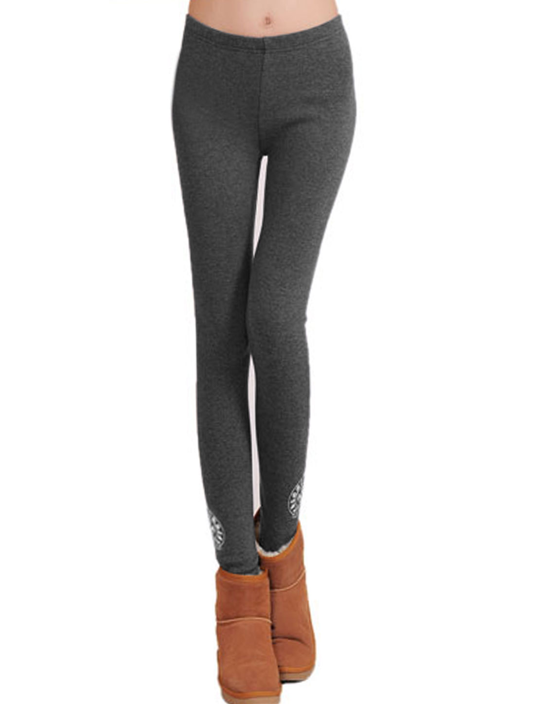 Ladies Dark Gray Elastic Waist Mid Rise Novelty Prints Skinny Leggings XS