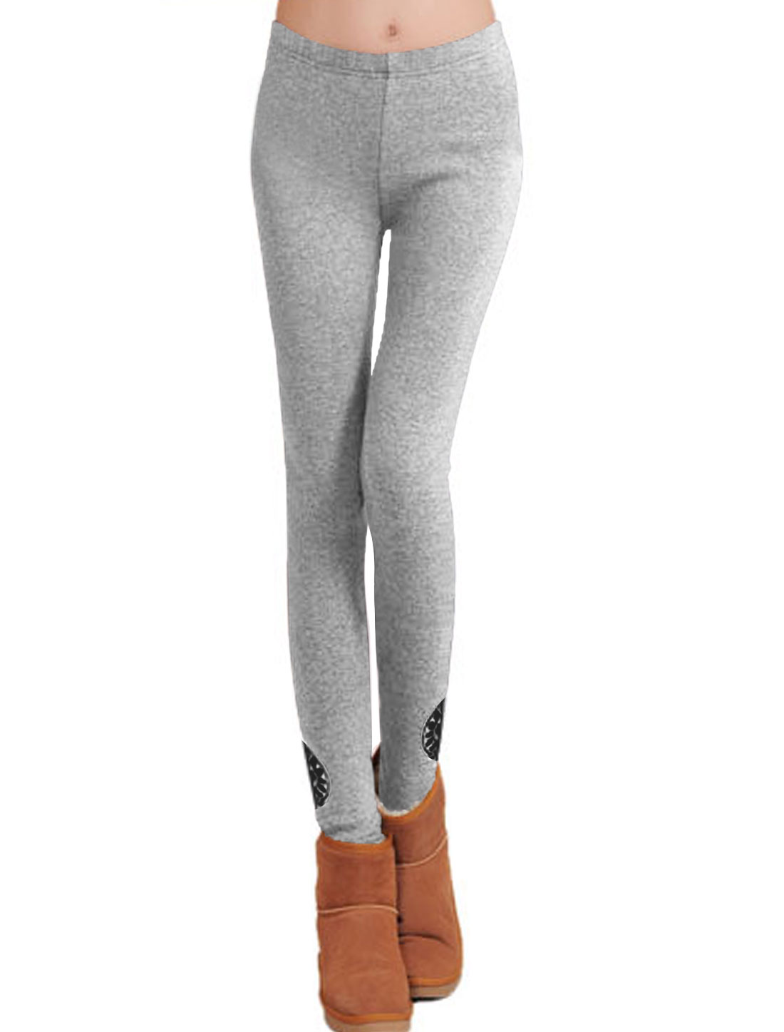 Ladies Light Gray Mid Rise Stretchy Printed Novelty Fashion Leggings XS