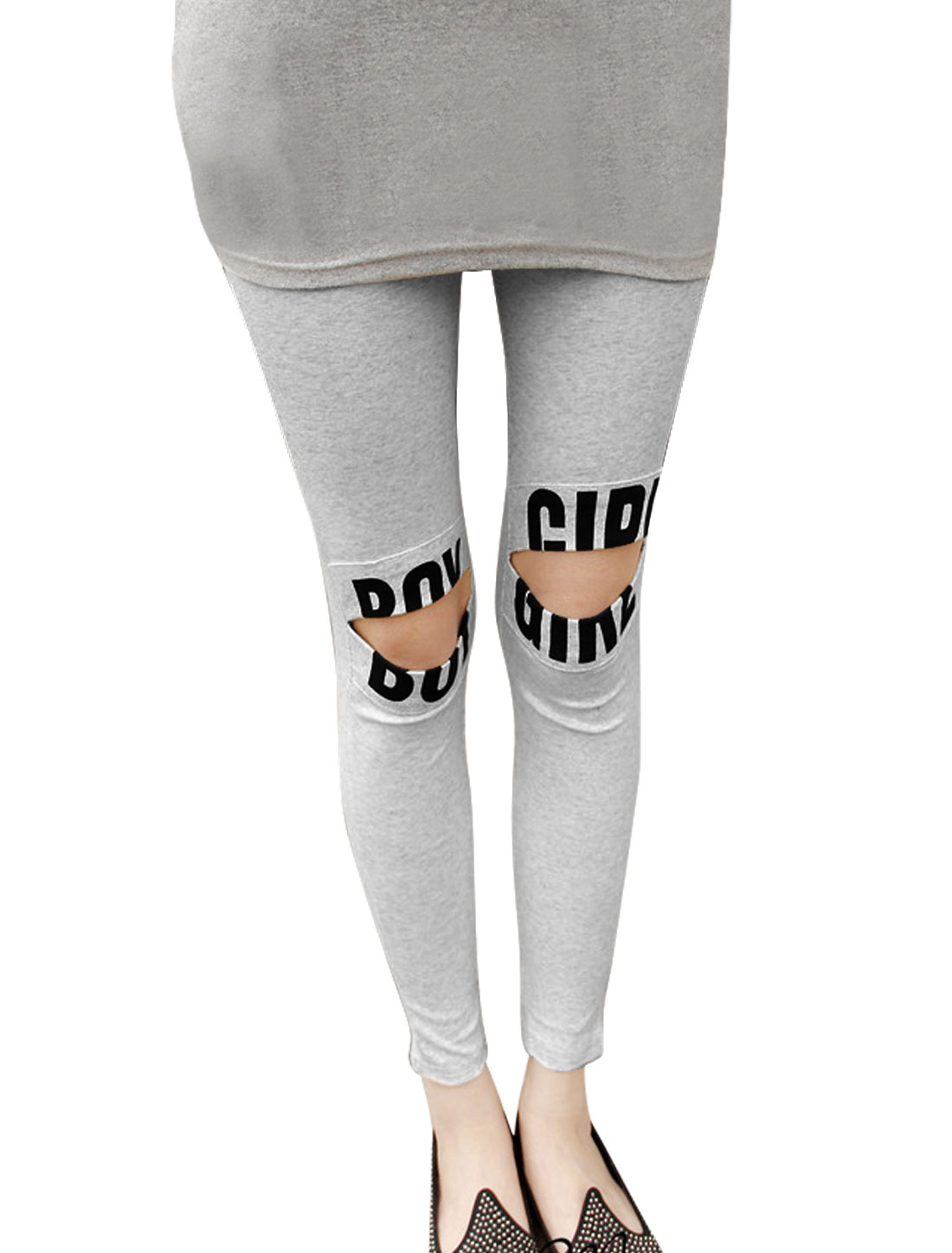 Letters Prints Strtchy Form-fitting Light Gray Leggings for Woman XS