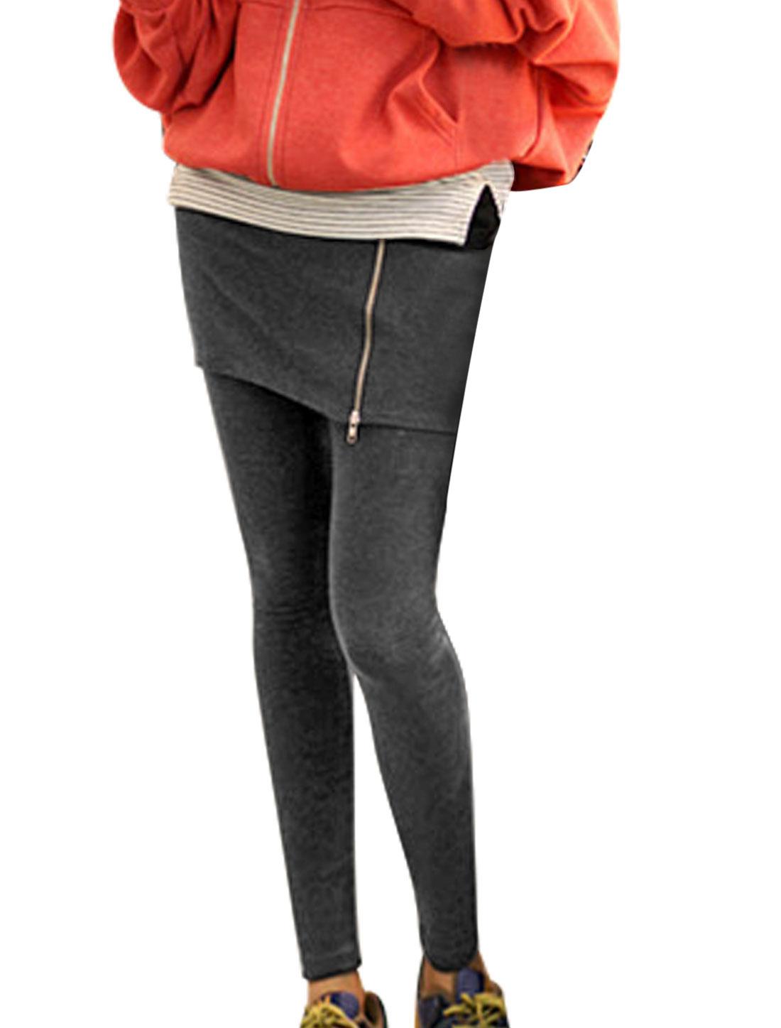 Women Natural Rise Stretchy Zip Closure Casual Skirt Leggings Dark Gray XS