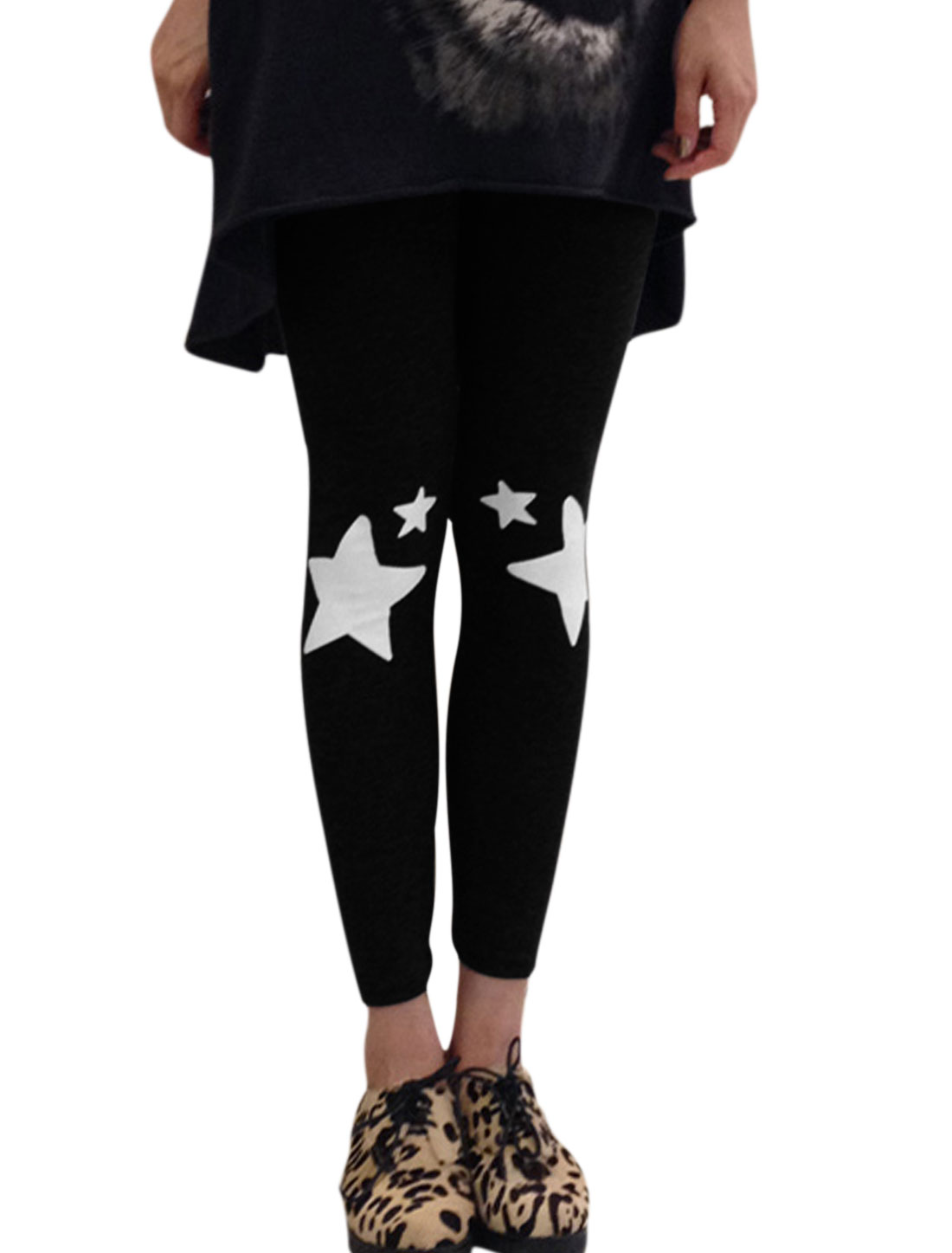 Women Stars Prints Elastic Waist Slim Fit Leggings Black XS