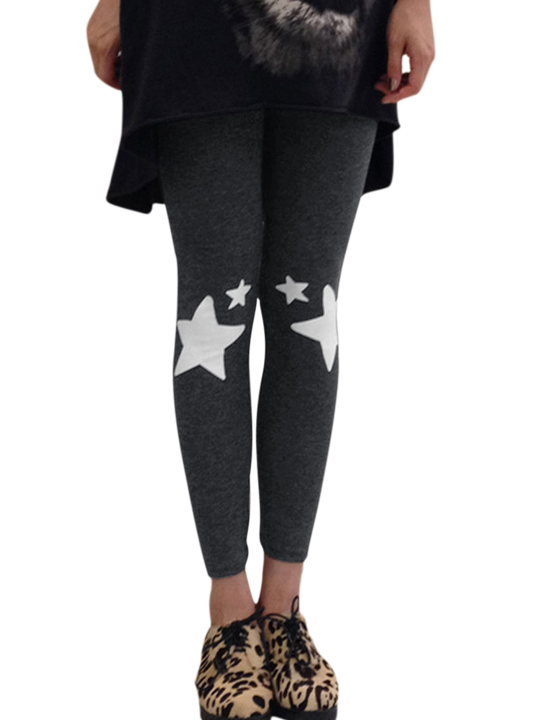 Ladies Stretchy Waist Stars Prints Dark Gray Leggings XS