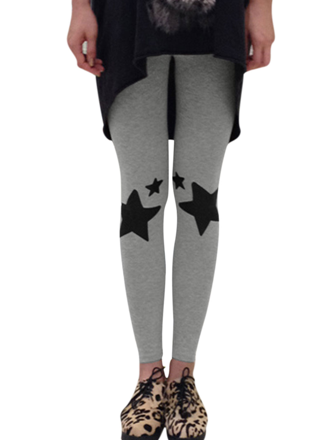 Stretchy Stars Prints Cozy Fit Light Gray Leggings for Woman XS