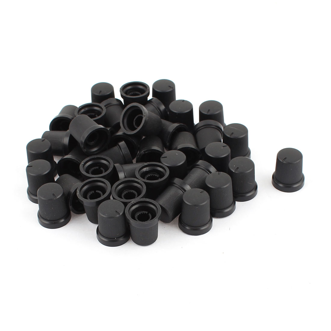 40pcs 6mm Knurled Dia Black Roatory Potentiometer Knob