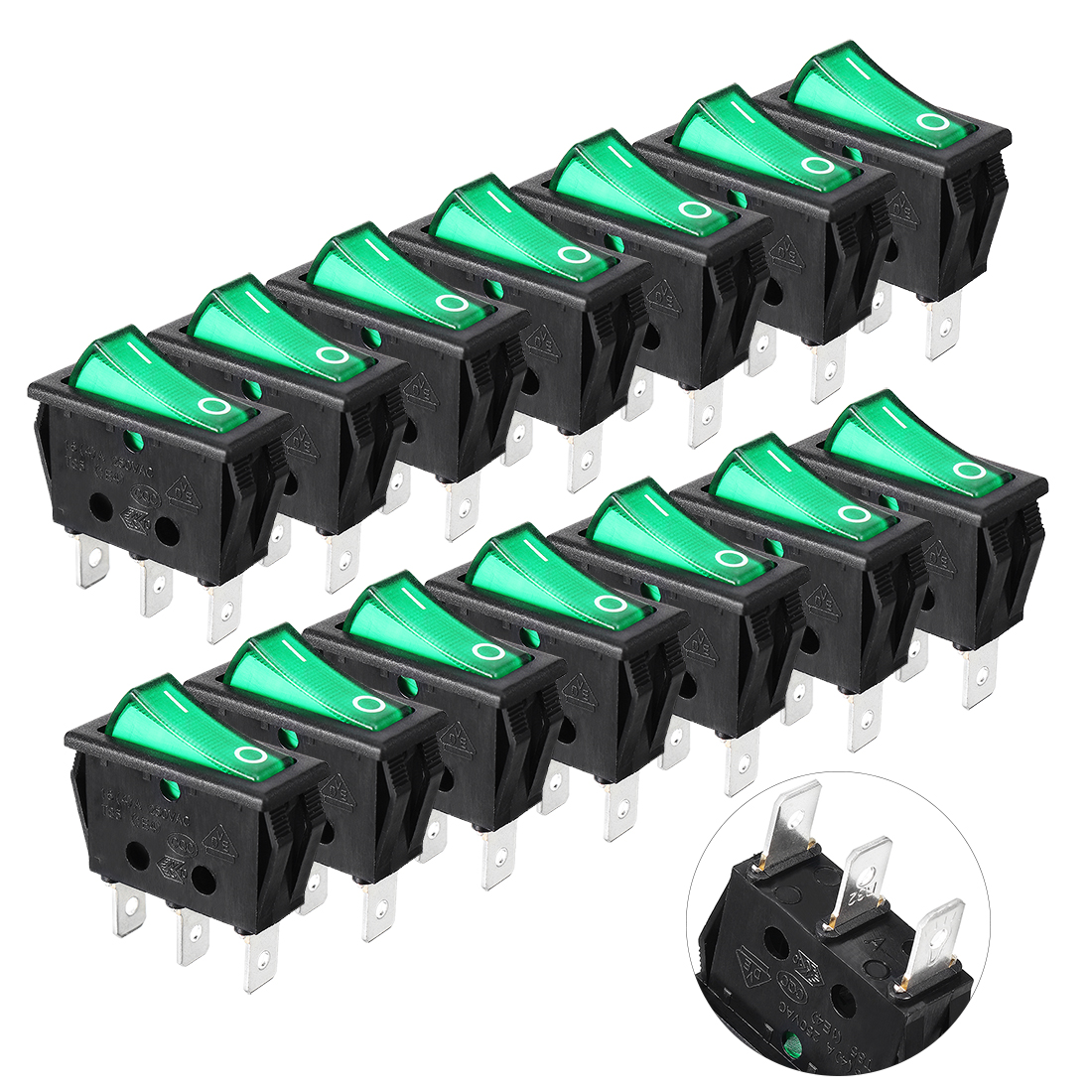 14pcs AC 125V-250V Lights On/Off Snap-In Panel Mount SPST Rocker Switch