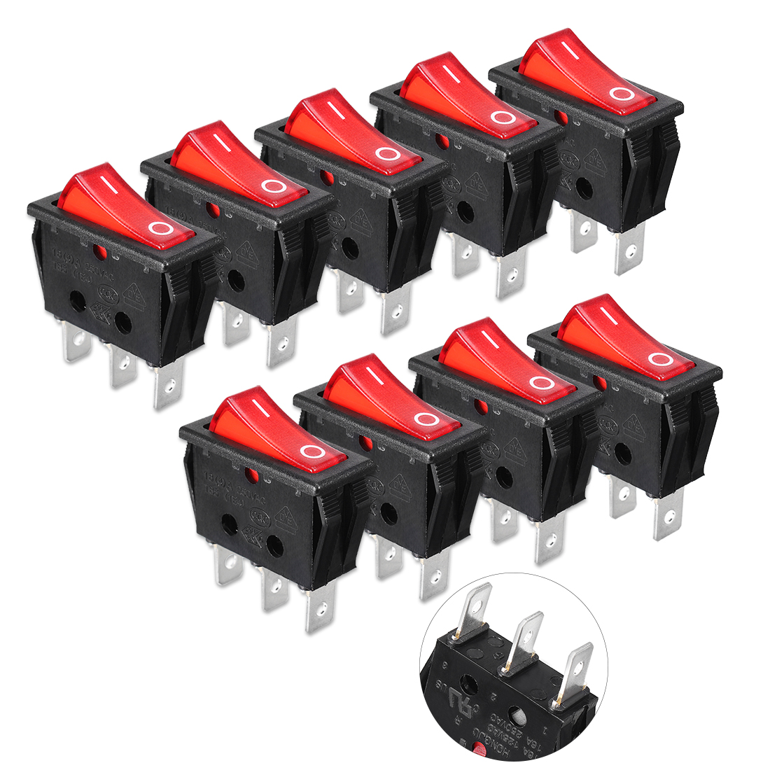 9pcs AC 16A 250V Red Lamps ON-OFF 3-Pin SPST Latch Rocker Boat Switch