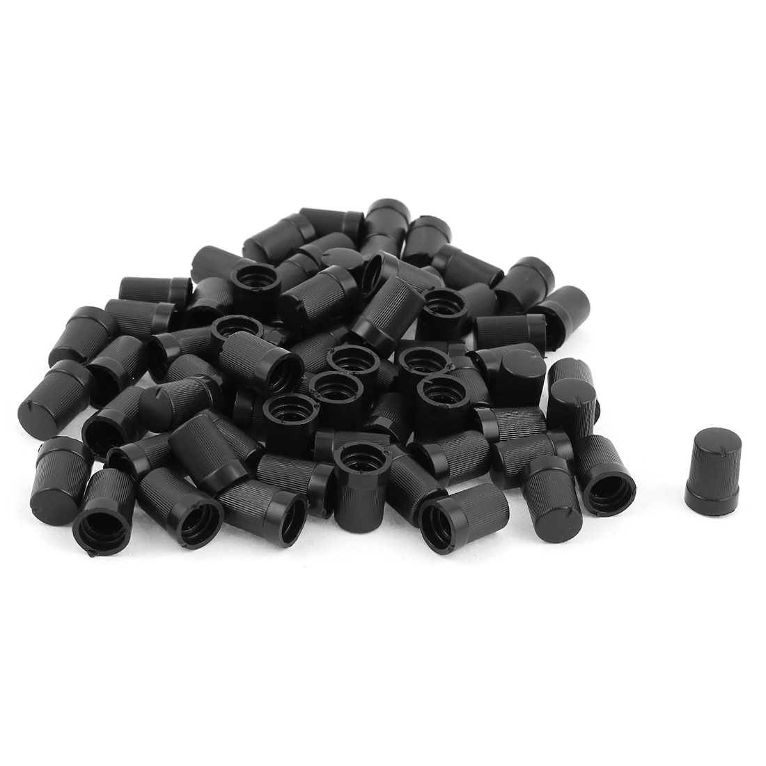 70pcs 6mm Knurled Thread Dia Black Roatory Potentiometer Knob