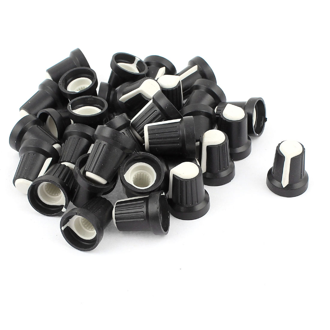 35pcs White Face Potentiometer Knob Cap for 6mm Knurled Shaft