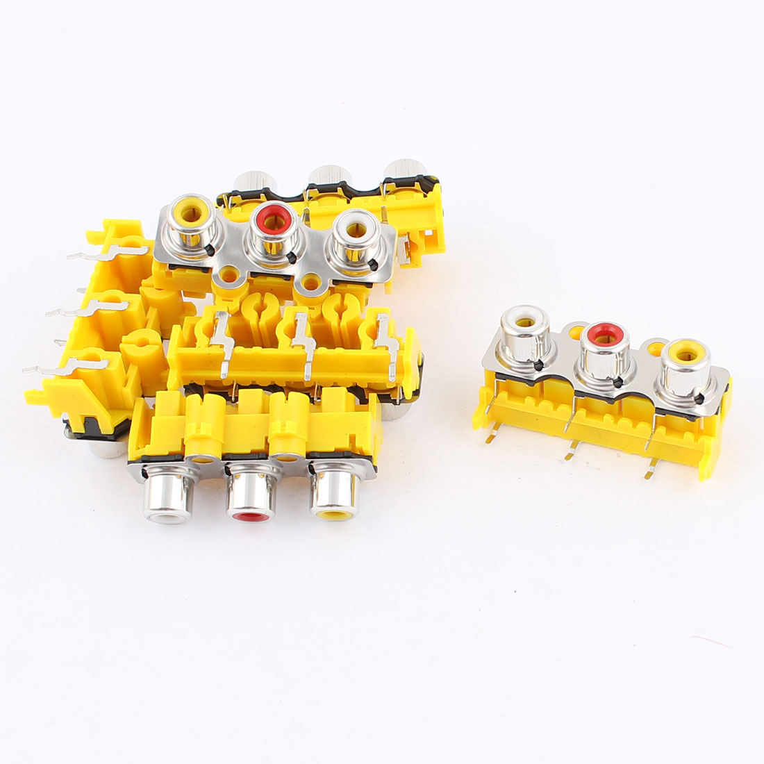 6pcs Yellow Plastic 3 Female Outlet AV Concentric RCA Socket Board