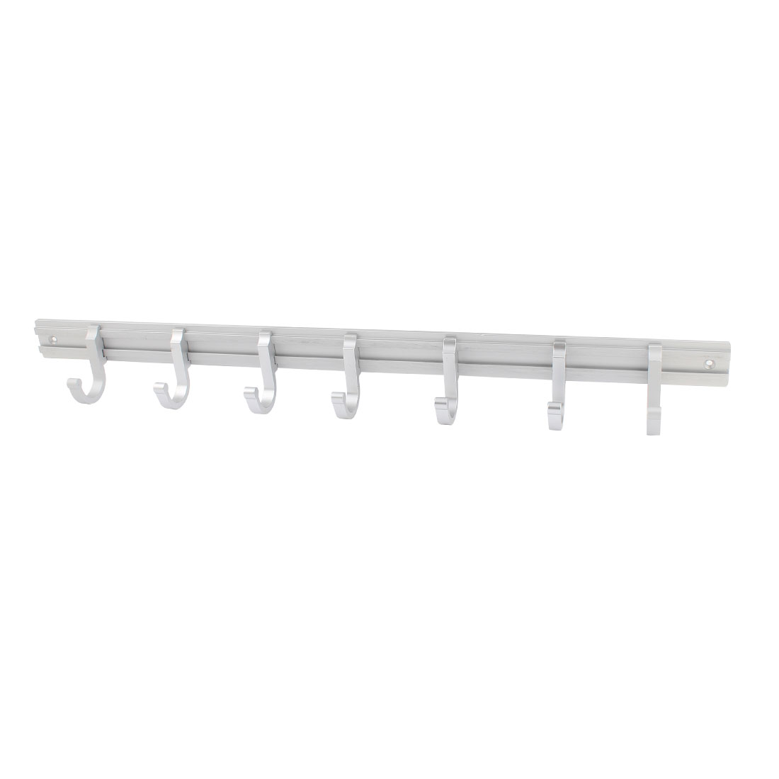 Silver Tone 52.5cm Long 7 Hooks Clothes Handbag Towel Hanger Wall Hook Rail