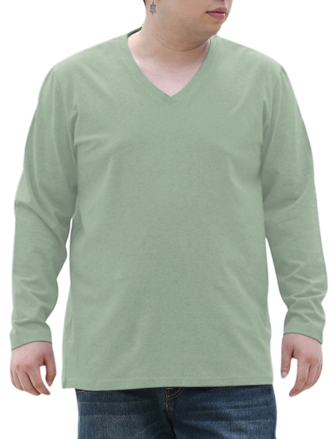 Men Soft Round Neck Pure Design Casual Big-Tall T-shirt Dusty Green 2X Big