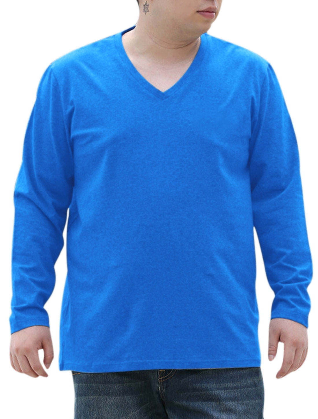 Men Soft Round Neck Pure Design Casual Big-Tall Tee Top Blue 2X Big