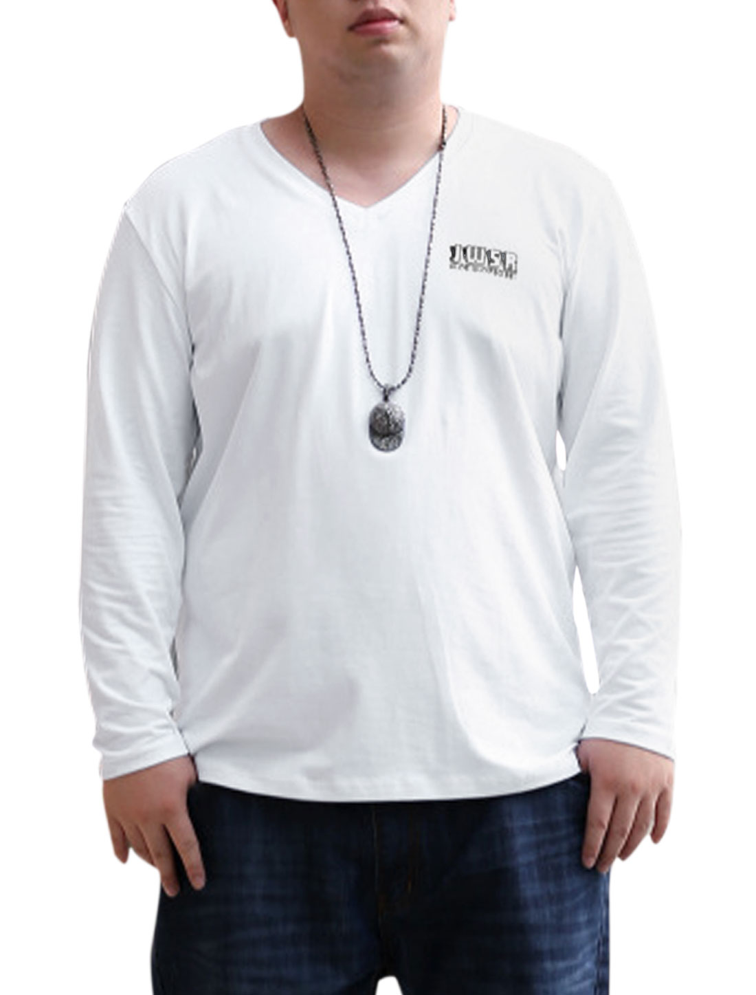 Men Newly Soft V Neck Letters Print Casual T-shirt White XL