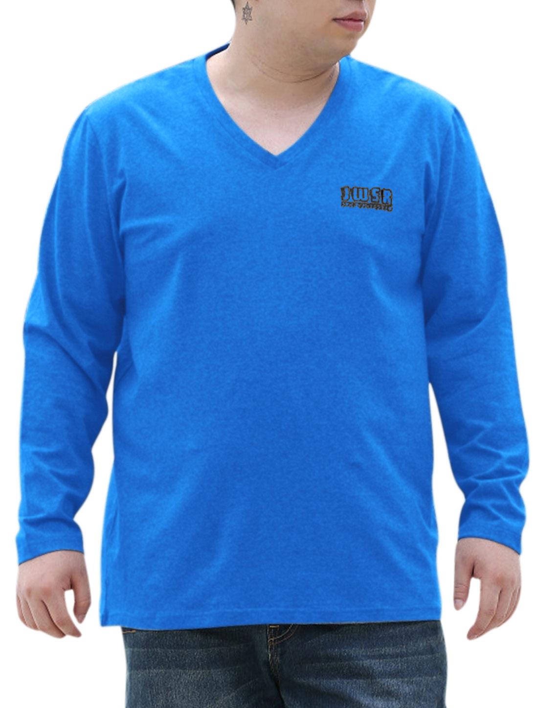 Men New Fashion V Neck Letters Print Big-Tall Casual T-shirt Navy Blue 2X Big