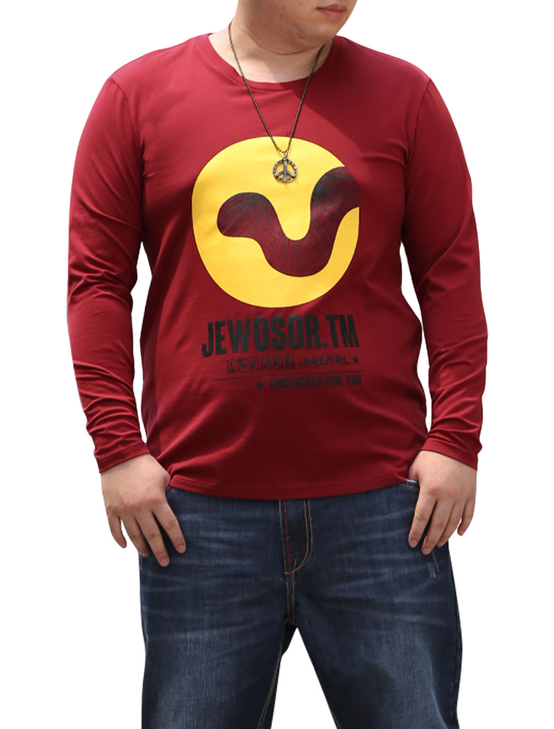 Men Long Sleeves Letters Novelty Print NEW Fashion Tee Top Burgundy XL