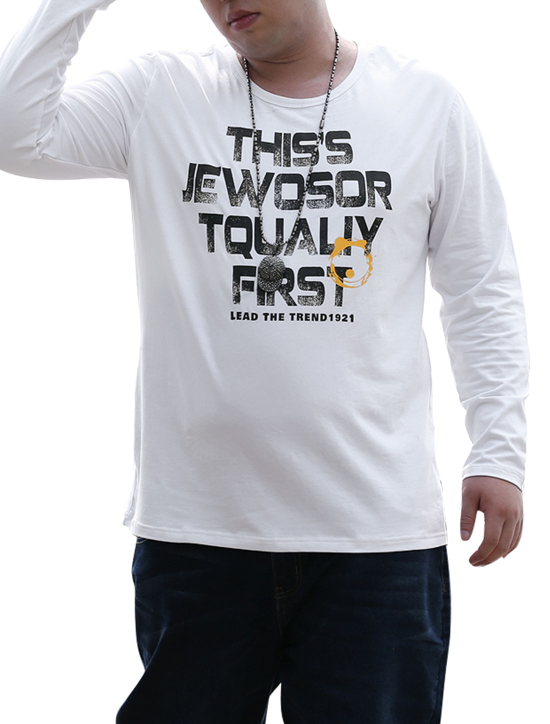 Long Sleeves Letters Print NEW Fashion for Men Tee Shirt White XL