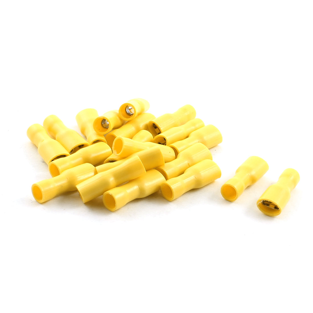 20Pcs Yellow Female Fully Insulated Spade Crimp Terminals for AWG 12-10 Cable