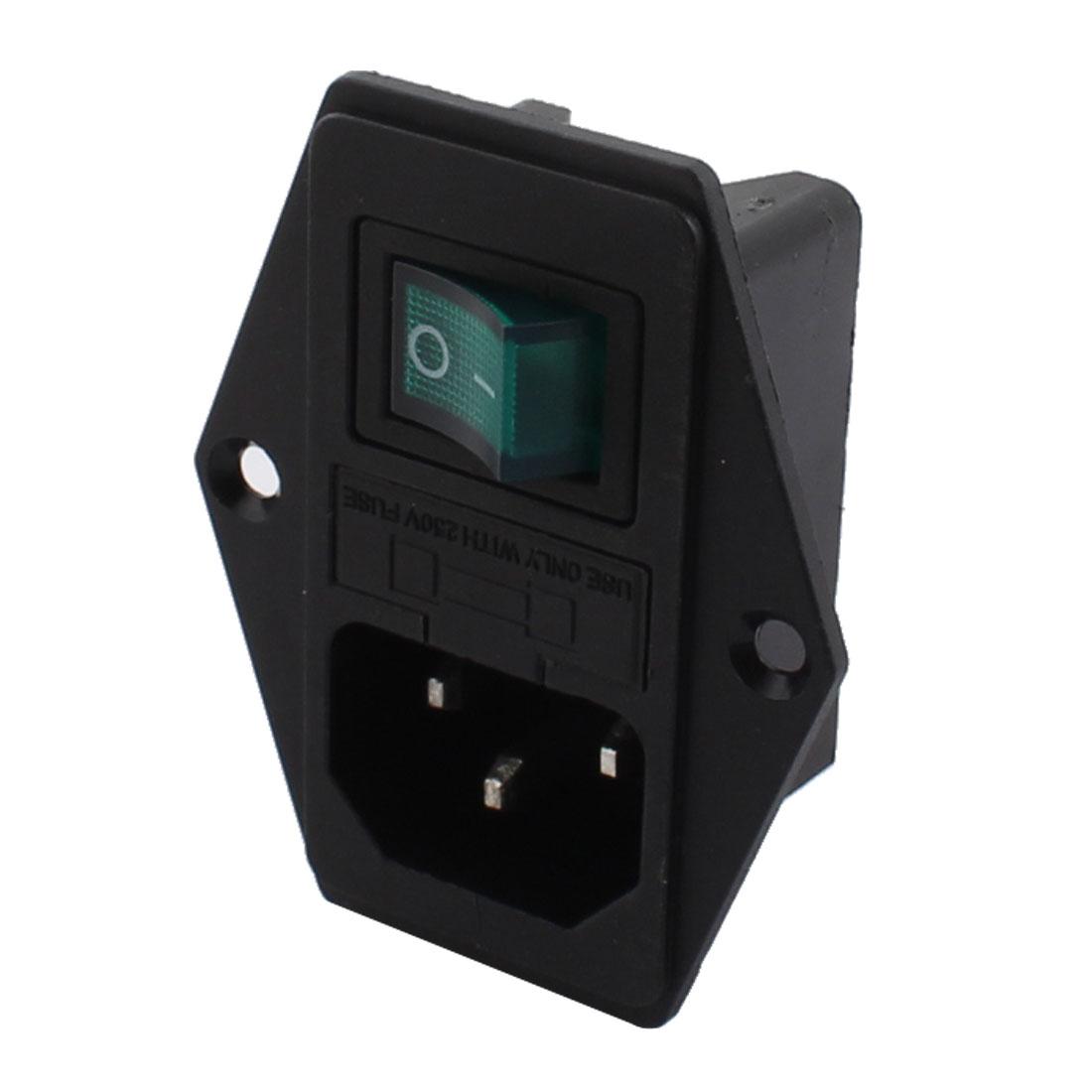 2pcs C14 Inlet Plug Socket On/Off Boat Rocker Switch w Fuse Socket AC 250V 10A