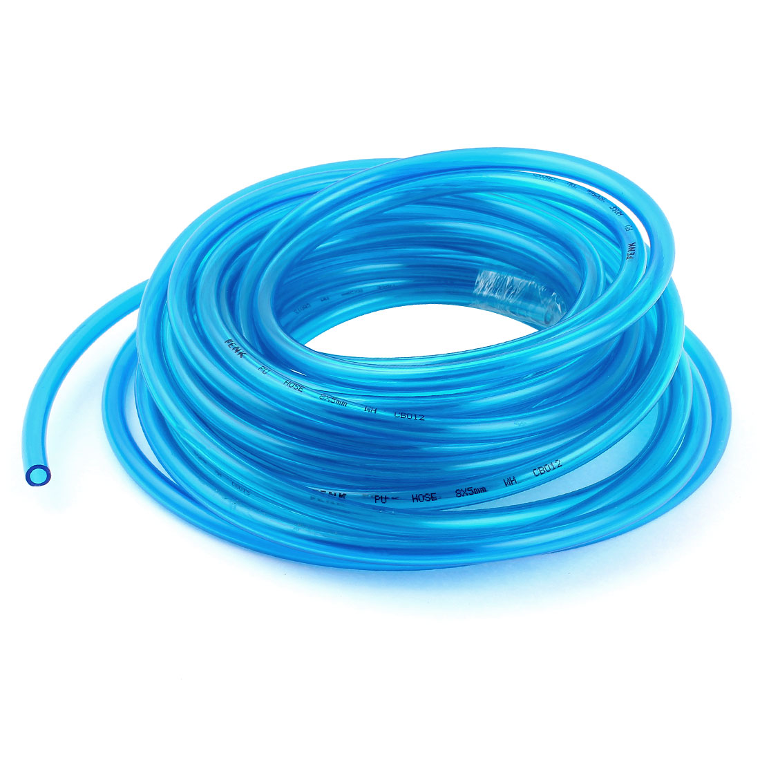 5m 16.4ft 8mmx5mm Pneumatic Polyurethane PU Hose Tube Pipe Clear Blue