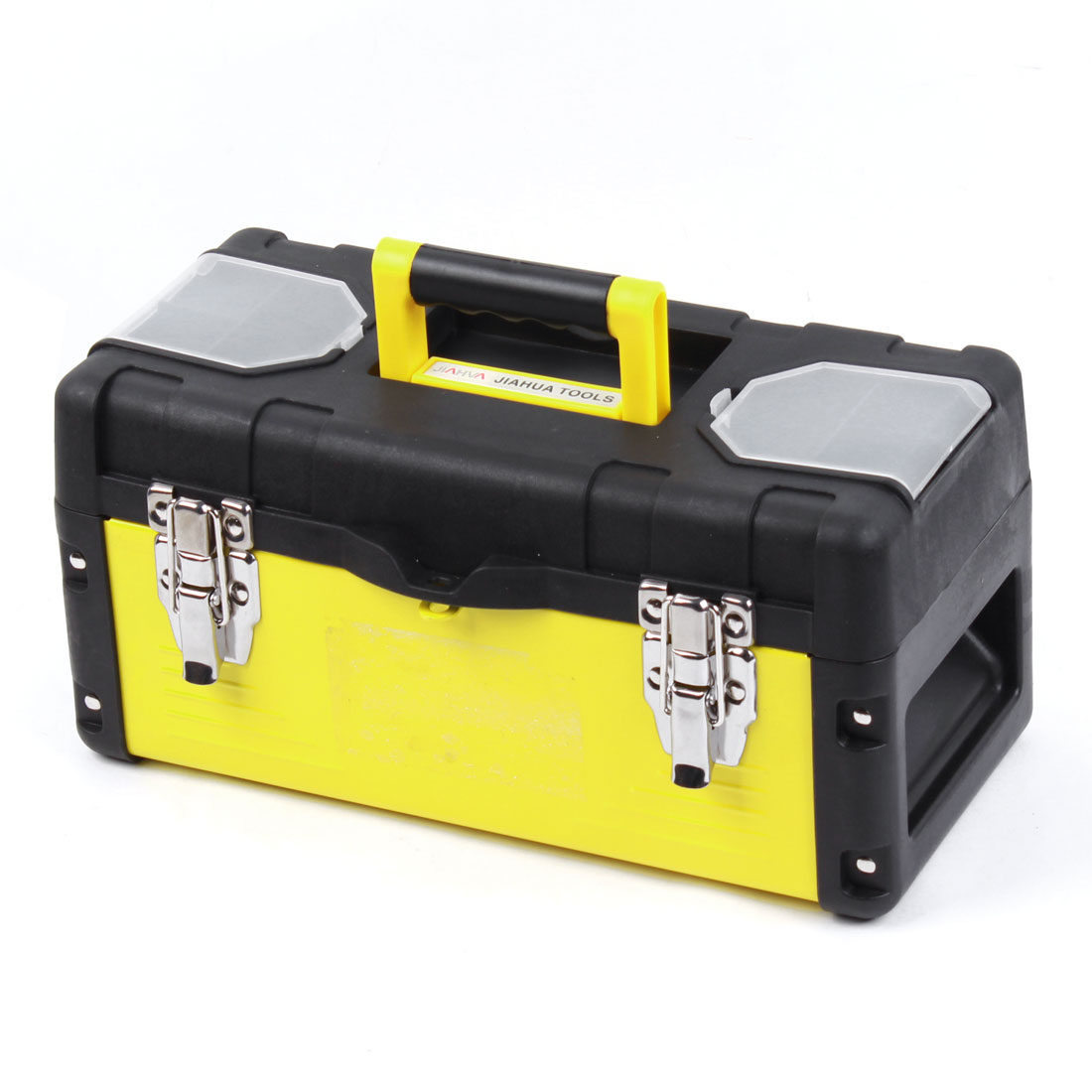 Engineer Plastic Metal 2 Layers Hardware Tool Box Black Yellow