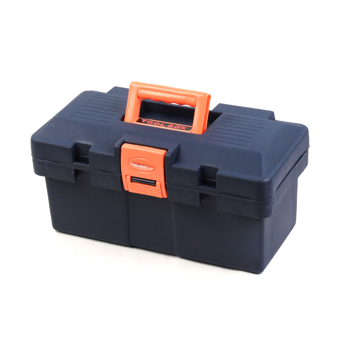 Engineer Plastic Dual Layers Hardware Tool Storage Box Navy Blue Orange