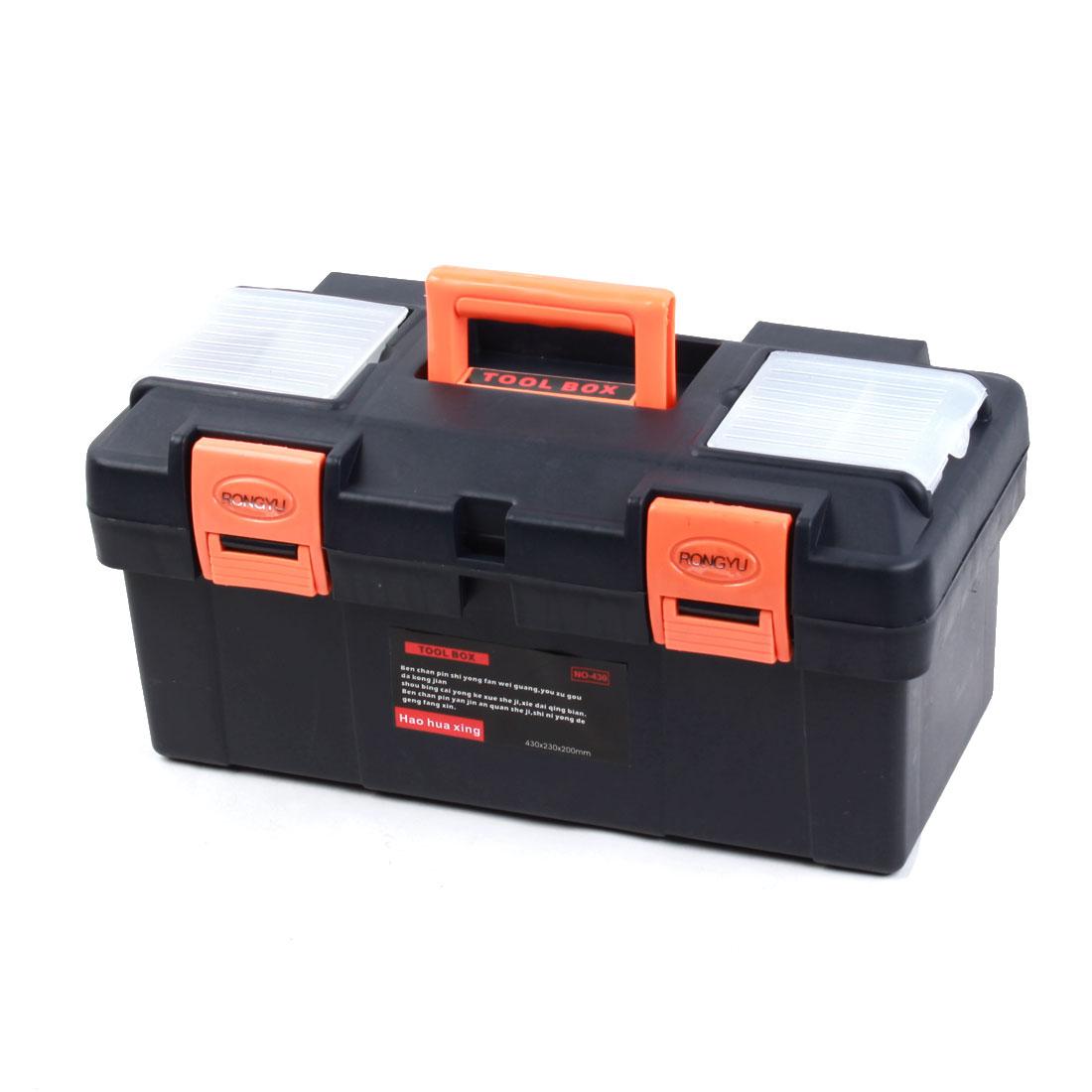 Engineer Plastic 2 Layers Hardware Tool Storage Box Navy Blue Orange