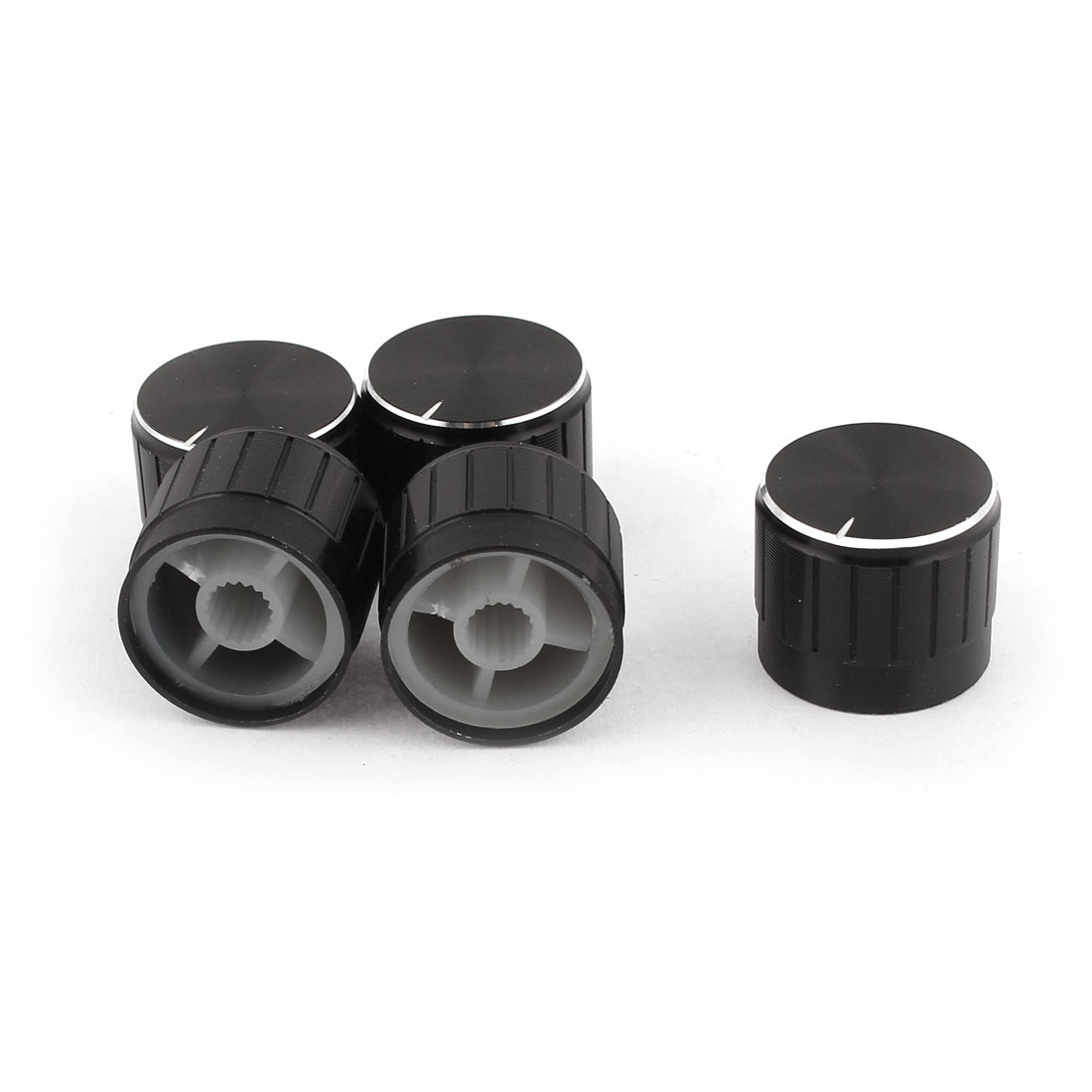 4 Pcs Black Silver Tone Plastic Potentiometer Rotary Control Knobs Caps 17x20mm
