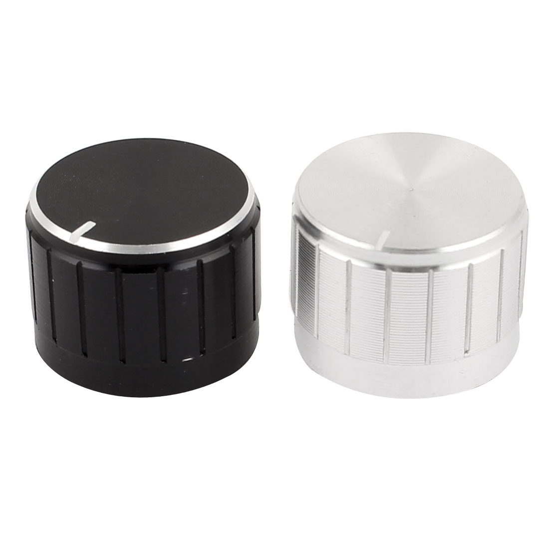 2 Pcs Black Silver Tone Plastic Potentiometer Rotary Control Knobs Caps 17x23mm