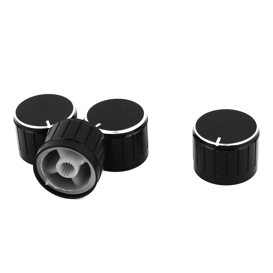 4 Pcs Black Silver Tone Plastic Potentiometer Rotary Control Knobs Caps 17x11mm