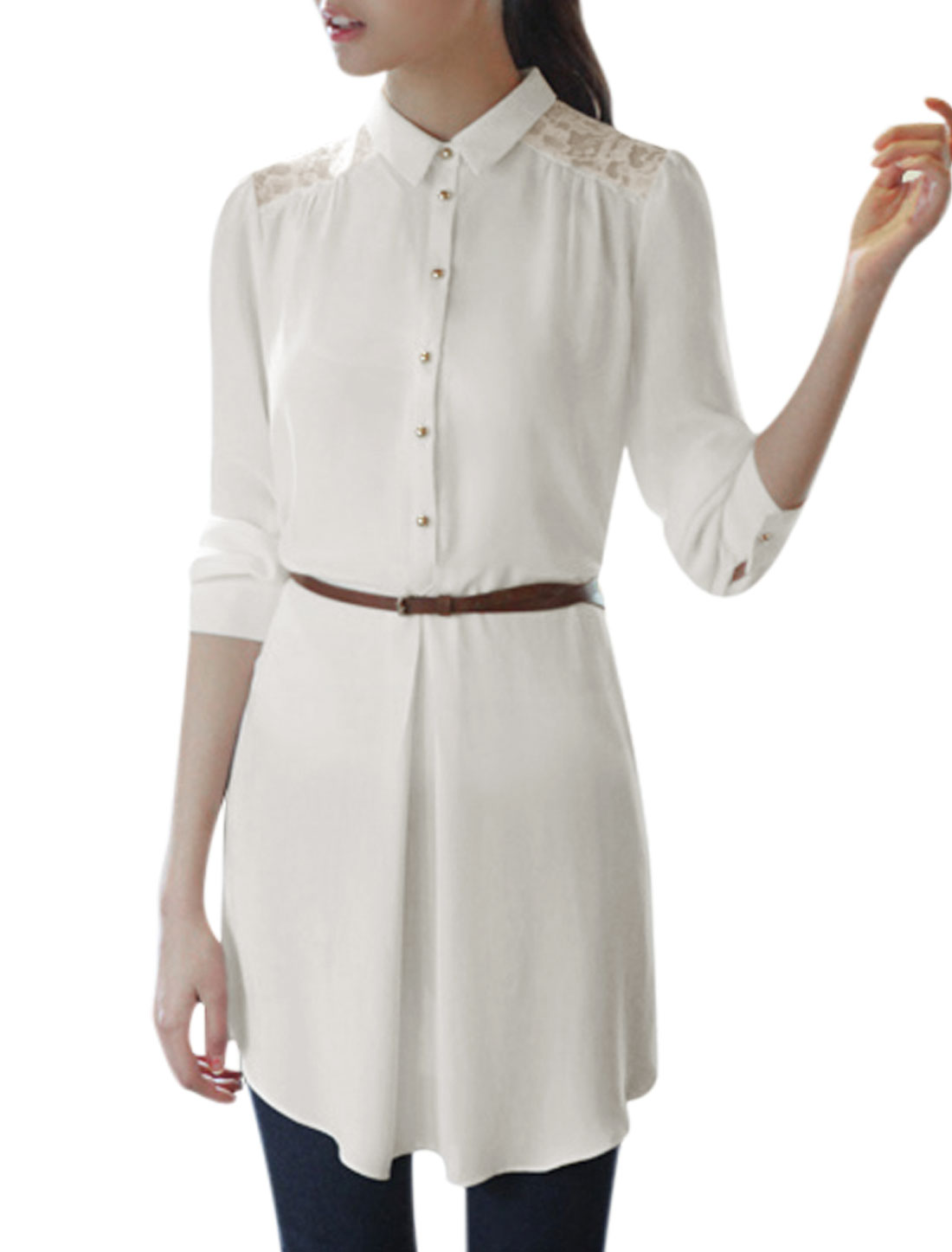 Woman Point Collar 1/2 Placket Lace Patch Back Shirt Dress w Belt White L