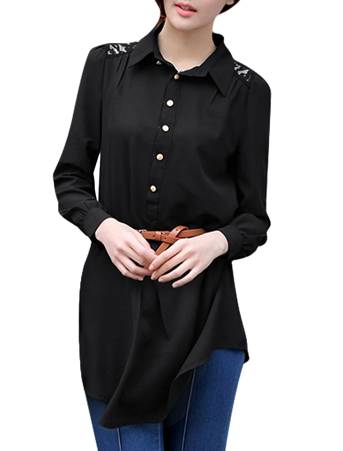 Woman Semi-Sheer 1/2 Placket Lace Spliced Back Shirt Dress w Belt Black L