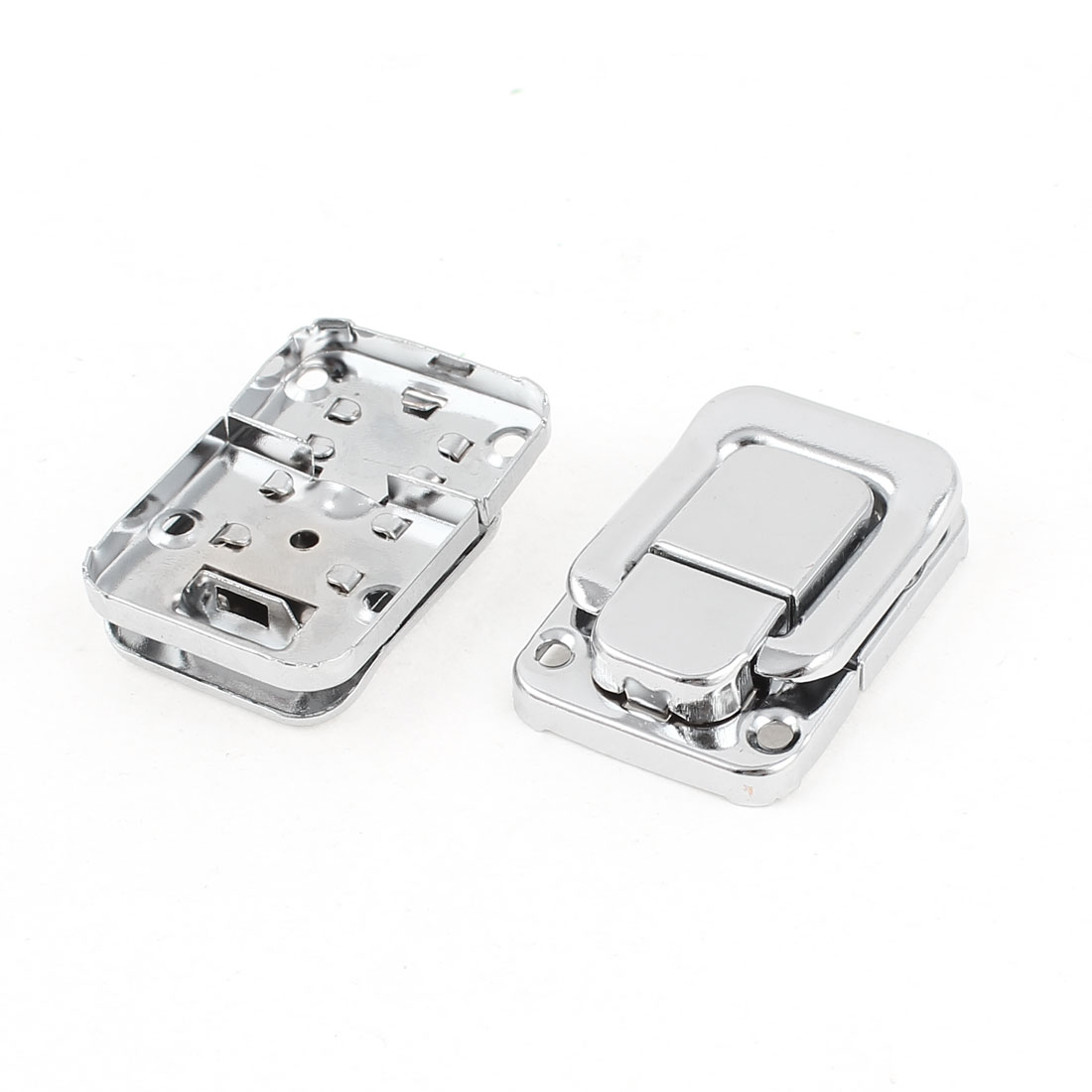 2 Pcs Metal Wardrobe Box Case Latch Hasp Silver Tone 45mm Long
