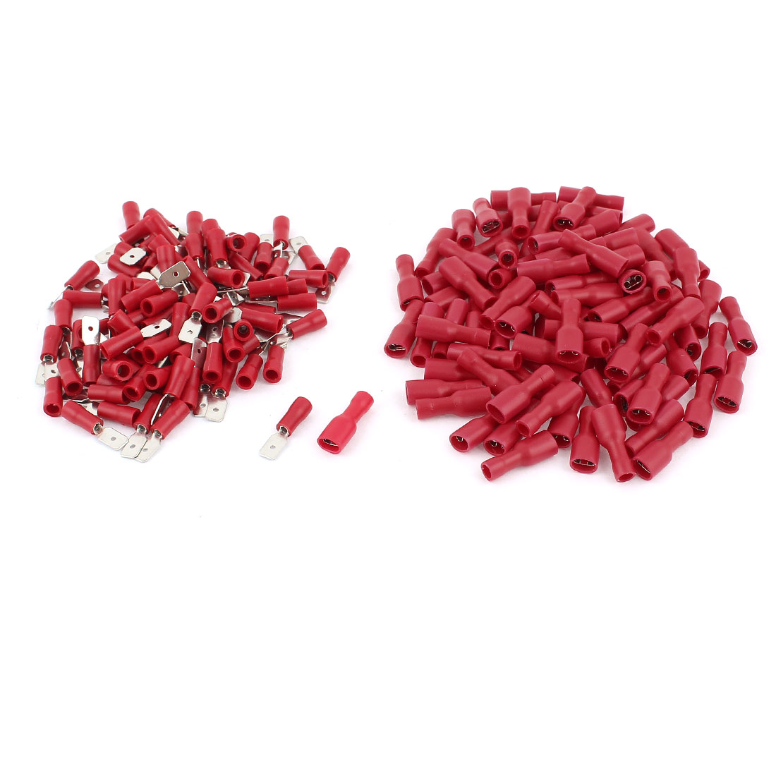 200 Pcs FDFD1-187 Female + MDD1-187 Male Wire Spade Insulated Crimp Terminals