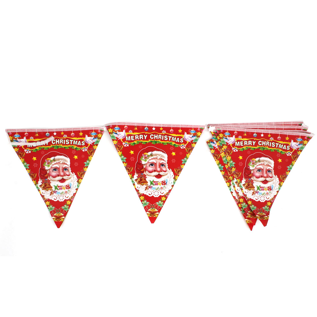 Merry Christmas Santa Claus Print 8 in 1 Triangle Flag Hanging Decor Red White Gold Tone