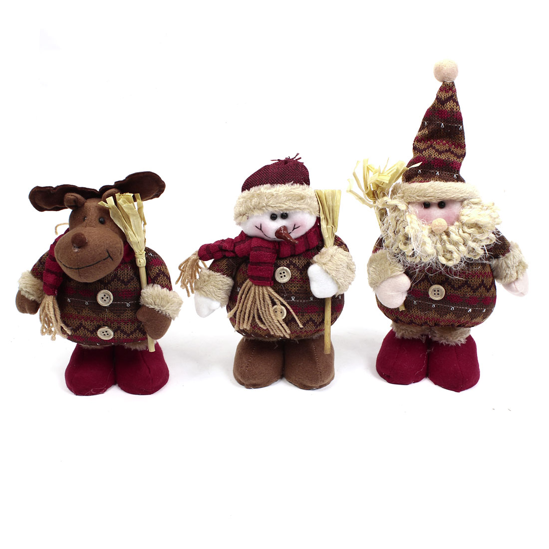 Santa Claus Snowman Reindeer Xmas Christmas Toy Gift Red Coffee Color 3 in 1