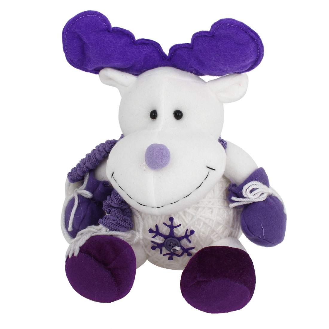 Reindeer Shape Christmas Toy Doll Gift Purple White for Xmas Trees Ornament