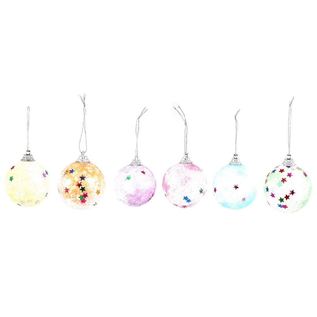 Pentagram Accent Christmas Colorful Balls Pendant 6pcs for Xmas Tree Dangling Decor