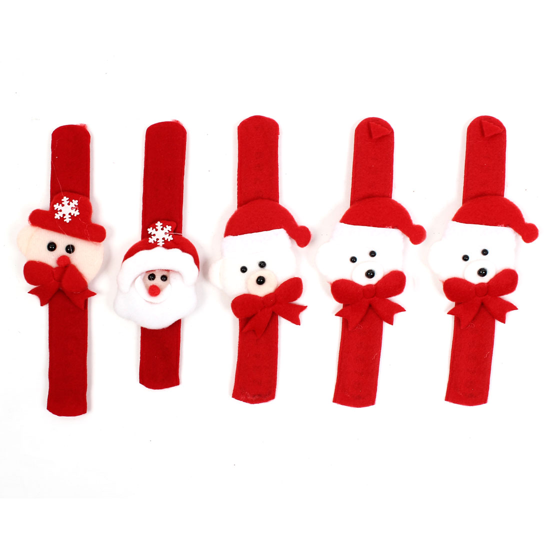 5pcs Xmas Santa Claus Decor Slap Pat Christmas Bracelet Wristband Hand Ring Red White